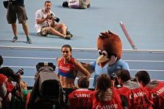 Champion E. Isinbayeva with sparrow Stock Photography