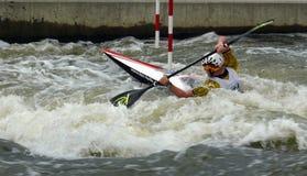 Champion européen de canoë de slalom Images libres de droits
