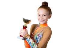 Champion girl holding prize Royalty Free Stock Image
