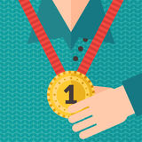 Champion gold medal on the neck vector illustration. First place. Royalty Free Stock Images