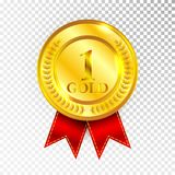Champion Gold Medal with Red Ribbon Icon Sign First Place Collection Set Isolated on Transparent Background. Vector Illustration.  Stock Photography
