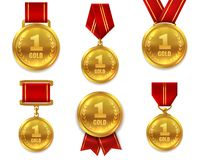 Champion gold medals. Award winner trophy golden medal sport reward competition first best hero red ribbon coin prize. Vector set vector illustration