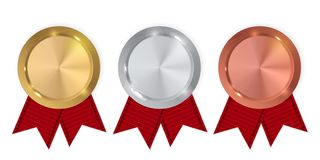 Free Champion Gold, Silver And Bronze Medal. Icon Sign Of First, Second And Third Place Isolated On White Background. Vector Royalty Free Stock Photos - 153225828