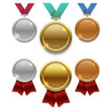 Champion gold, silver and bronze award medals with red and colors ribbons isolated on white background. Medal sport prize with ribbon. Vector illustration Royalty Free Stock Photos