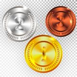 Champion Gold, Silver and Bronze Medal Icon Sign First, Second and Third Place Collection Set Isolated on Transparent Background. Vector Illustration Stock Photo