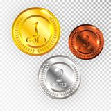 Champion Gold, Silver and Bronze Medal Icon Sign First, Second and Third Place Collection Set Isolated on Transparent Background. Vector Illustration Royalty Free Stock Image