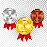 Champion Gold, Silver and Bronze Medal with Red Ribbon Icon Sign First, Second and Third Place Collection Set Isolated on Transpar royalty free illustration