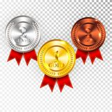Champion Gold, Silver and Bronze Medal with Red Ribbon Icon Sign First, Second and Third Place Collection Set Isolated on Transpar. Ent Background. Vector Royalty Free Stock Photos