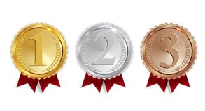 Champion Gold, Silver and Bronze Medal with Red Ribbon Icon Sign First, Secondand Third Place Collection Set Isolated on. White Background. Vector Illustration Stock Image