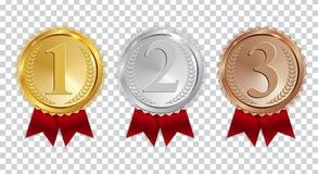 Champion Gold, Silver and Bronze Medal with Red Ribbon Icon Sign First, Secondand Third Place Collection Set Isolated on. Transparent Background. Vector Royalty Free Stock Photo