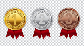 Champion Gold, Silver and Bronze Medal with Red Ribbon Icon Sign. First, Secondand Third Place Collection Set  on Transparent Background. Vector Illustration Stock Image