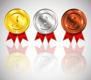 Champion Gold, Silver and Bronze Medal with Red Ribbon and reflection Icon Sign First, Second and Third Place Collection Set Isola. Champion Gold, Silver and Stock Photos