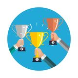 Champion Gold, Silver and Bronze Trophy Cup Award Icon Sign of First, Second  and Third Place. Vector Illustration. EPS10 Royalty Free Stock Images