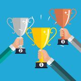 Champion Gold, Silver and Bronze Trophy Cup Award Icon Sign of First, Second  and Third Place. Vector Illustration. EPS10 Stock Photography