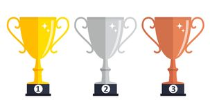 Champion Gold, Silver and Bronze Trophy Cup Award Icon Sign of First, Second  and Third Place. Vector Illustration. EPS10 Royalty Free Stock Photo