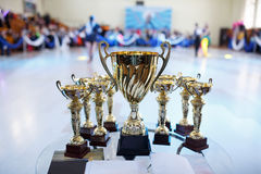 Champion golden trophies. Cup for the first place.  stock photography