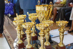 Champion golden trophies. Cup for the first place Stock Photography