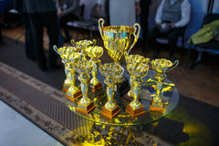Champion golden trophies. Cup for the first place.  royalty free stock photos