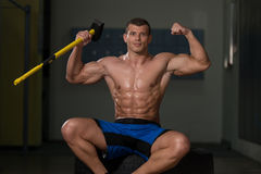 Champion Of The Gym Hammer And Tire Royalty Free Stock Images