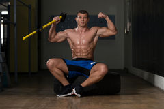 Champion Of The Gym Hammer And Tire Stock Photo