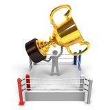 Champion Has Big Trophy At Boxing Ring Stock Image