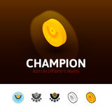 Champion icon in different style. Champion color icon, vector symbol in flat, outline and isometric style isolated on blur background Stock Image