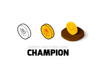 Champion icon in different style. Champion icon, vector symbol in flat, outline and isometric style Stock Photography