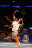 Champion Juan Martin Del Potro de Grand Chelem de l'Argentine dans l'action pendant événement de tennis d'anniversaire d'épreuve  Image libre de droits