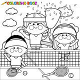 Champion kids tennis players at tennis court holding trophy coloring book page. Vector illustration of children tennis players winners at the tennis court with Royalty Free Stock Image