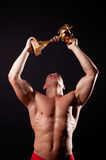 Champion lifting up his cup Stock Photos