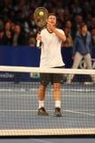 Champion Lleyton Hewitt de Grand Chelem d'Australie dans l'action pendant événement de tennis d'anniversaire d'épreuve de force d Photo libre de droits
