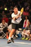 Champion Lleyton Hewitt de Grand Chelem d'Australie dans l'action pendant événement de tennis d'anniversaire d'épreuve de force d Image stock