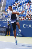 Champion Marin Cilic de l'US Open 2014 de Croatie pendant le match 4 rond de l'US Open 2014 Photos libres de droits