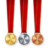 Champion Medals Blank Set Vector. Metal Realistic First, Second Third Placement Prize. Classic Empty Medals Concept. Red Royalty Free Stock Images