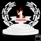 Champion, number one background with white ribbon and fire, tech. No stylized olive branch on round pedestal isolated on black. Poster or brochure template Royalty Free Stock Image