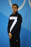 Champion olympique Gregorio Paltrinieri de l'Italie pendant la présentation de médaille au ` s d'hommes style libre de 1500 mètre Photo stock