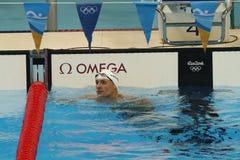 Champion olympique Ryan Lochte des Etats-Unis après le relais quatre nages de personne de 200m des hommes de Rio 2016 Jeux Olympi Image stock