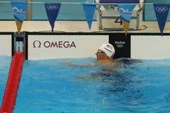 Champion olympique Ryan Lochte des Etats-Unis après le relais quatre nages de personne de 200m des hommes de Rio 2016 Jeux Olympi Image libre de droits