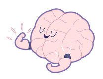 Champion outlined, Train your brain. Champion the brain showing it's biceps flat outlined cartoon illustration - train your brain series. Part of the Brain Royalty Free Stock Image