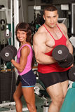 Champion pair. The champion in a fitness center stock image