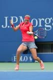 Champion Petra Kvitova de Grand Chelem pendant le premier match de rond à l'US Open 2013 Photographie stock libre de droits
