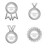 Champion prize medal. Set of vector monochrome vintage emblems, labels, badges and logos isolated on black background. Sport award, winner design elements Royalty Free Stock Photography