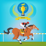 The champion of race horse riding, Vector illustration Stock Images