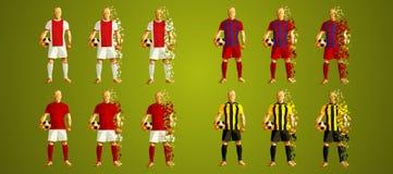 Champion`s league group E, Soccer players colorful uniforms, 4 t