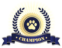Champion seal with dog paw print. Elegant blue and golden seal / stamp with blue ribbon with champion text and paw print on center. perfect for dog show things Stock Image