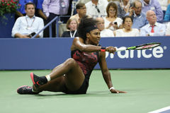 Champion Serena Williams de Grand Chelem de vingt un fois dans l'action pendant son match de quart de finale contre Venus William Photographie stock
