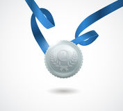 Champion silver medal with ribbon on white background. Vector illustration. Royalty Free Stock Photography