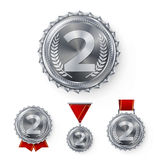 Champion Silver Medals Set Vector. Metal Realistic 2nd Placement Winner Achievement. Number Two. Round Medal With Red. Ribbon. Relief Detail. Best Challenge Stock Image