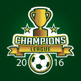 Champion soccer league logo emblem badge graphic with trophy. Background Royalty Free Stock Photos