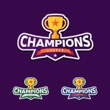 Champion sports league logo emblem badge graphic with trophy.  stock illustration